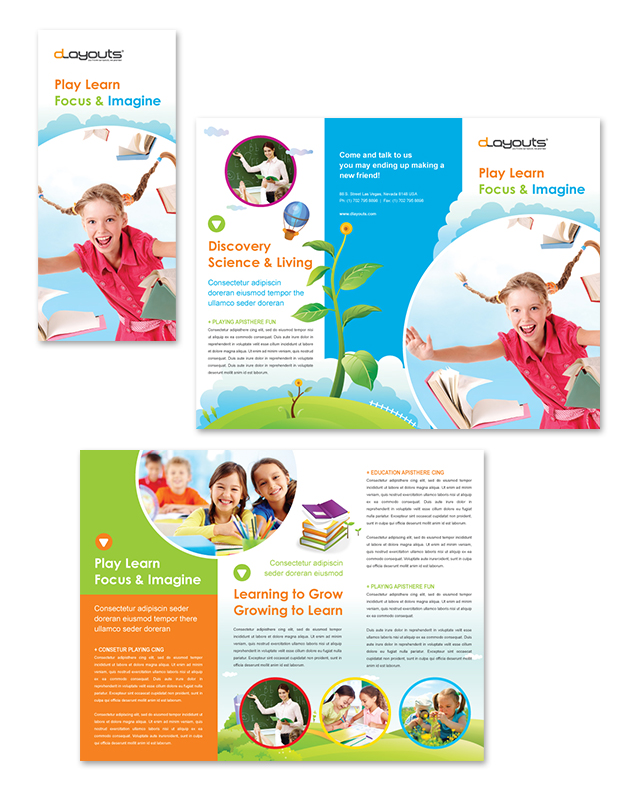 child care brochure templates - child education center tri fold brochure template