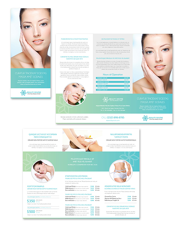 beauty salon brochure template - beauty spa salon tri fold brochure template