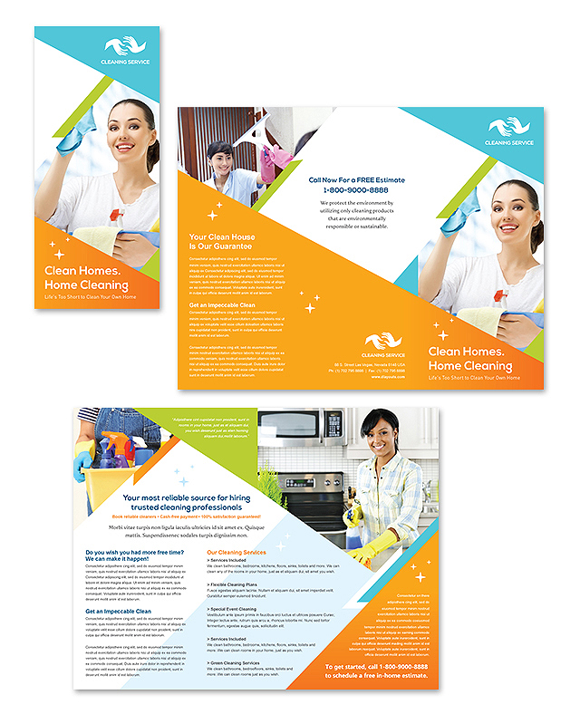 cleaning janitorial services tri fold brochure template design. Black Bedroom Furniture Sets. Home Design Ideas