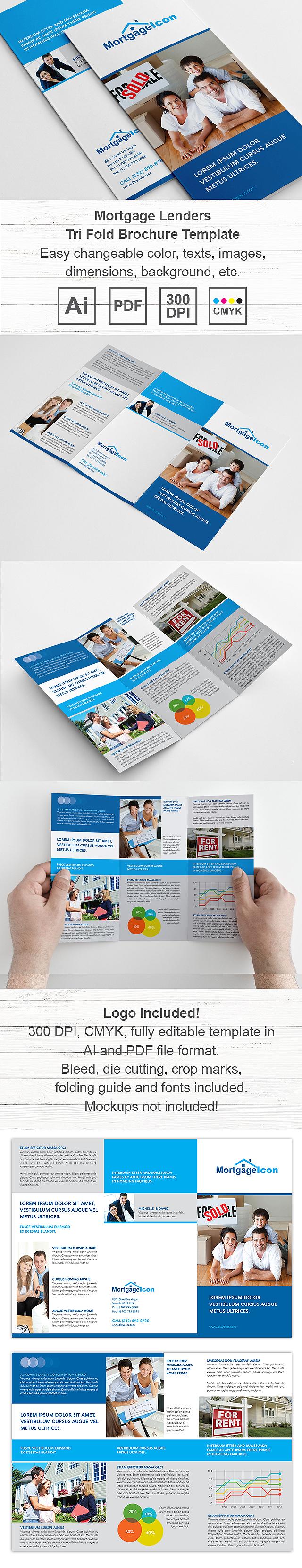 Mortgage Lenders Tri Fold Brochure Template Design - Mortgage broker flyer template