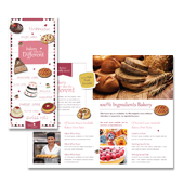bakery brochure template - decorative bakery tri fold brochure template